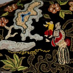 Detail of the jacket with several different stitches applied on the Cornely machine embellished with beads.