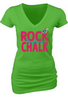 Kansas Jayhawks T-Shirt- Womens Neon Green V-Neck T-Shirt http://www.rallyhouse.com/kansas-jayhawks-womens-green-rock-chalk-v-neck-t-shirt-5702548?utm_source=pinterest&utm_medium=social&utm_campaign=Pinterest-KUJayhawks $21.99