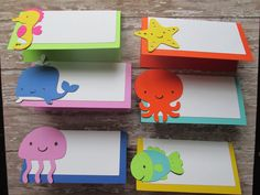 Bright Sea Creatures Food Tents - Food Labels, Under the Sea, Bright colors, baby showers, sea themed party, birthday party, food labels