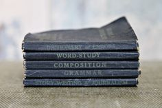 Not only are they vintage textbooks, but they're blue also!