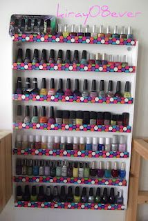 DIY Nail Polish Rack using Duct Tape and Foam boards