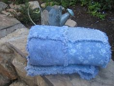 Country Western Shabby Chic Baby Rag Quilt  by JJandCompany