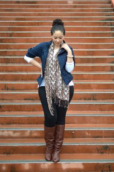 Fall Outfit idea: Blue jacket, white shirt, black skinnies, brown scarf, and tan boots