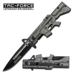 GREY M16 STYLE HANDLE SPRING ASSISTED FOLDING KNIFE | Grey M16 Style Handle Spring Assisted Folding Knife. 4 1/2 Inch overall closed in length. Includes pocket/boot clip. Featuring black stainless steel blade.