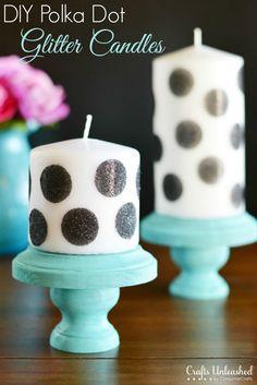 Polka Dot Glitter DIY Candles