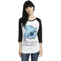 Disney Lilo & Stitch Ohana Reversible Girls Raglan ($29) ❤ liked on Polyvore featuring disney, long sleeve shirts and tops