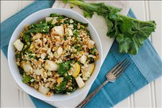 The honey mustard dressing in this farro and kale salad does a great job of tying all of the flavors together. So tasty!