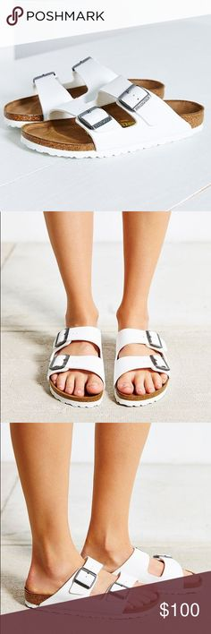 """Birkenstock sandals Brand new in box Birkenstock """"Arizona"""" sandals. Size 39 which converts to 8 - 8 & 1/2 but run big. In my opinion these fit like a 9 - 9 & 1/2. Only selling because I can't return. Please know your size in these before ordering. Birkenstock Shoes Sandals"""