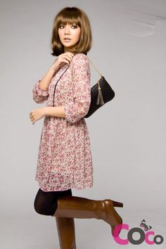 Sweet Flowers Pattern Long Sleeves Korean Fashion Chiffon Dress