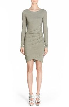"""Leith Ruched Long Sleeve Dress (Nordstrom Online Exclusive) - Flattering ruching highlights your curves in a soft knit dress finished with a trend-right wrap detail at the hem.      34"""" front length; 38 1/2"""" back length (size Medium).     Garment labels and tags may state Leith or Tildon."""