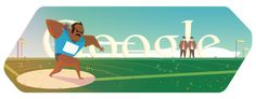 """The shot put is a track and field event involving """"putting"""" (throwing in a pushing motion) a heavy metal ball—the shot—as far as possible. It is common to use the term """"shot put"""" to refer to both the shot itself and to the putting (throwing) action. Google Doodles, Logo Google, Images Google, Art Google, Les Doodle, Olympics News, Olympic Logo, Google Today, Weight Lifting"""