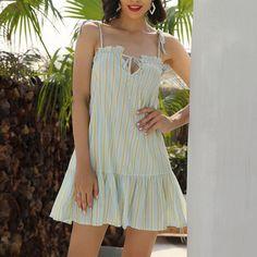 kanyankeji Summer Dress Short Sleeve Striped Beach Sleeveless Party Short Dress