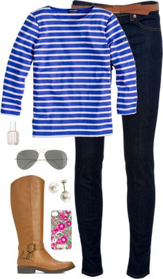 "madisonsclothes: ""bold stripes by classically-preppy featuring blue jeans ❤ liked on Polyvore J Crew j crew t shirt / J Brand blue jeans, $280 / Yellow gold earrings / Lilly Pulitzer tech accessory /..."