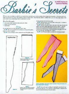 Barbie Stockings Pattern - Barbie's Secrets Part 1  I think you can shrink for 1:12 size