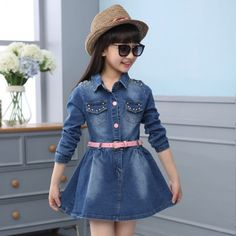 Girls Denim Shirt, Denim Belt, Denim Skirt, Baby Frocks Designs, Frock Design, Belted Dress, Dress Long, Baby Dress, Girl Clothing