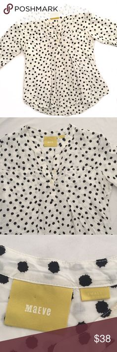 """Maeve Anthropologie white blouse black dots This is a great staple by Mauve by Anthro. Adorable black polka dots. This looks great with black slacks and a colored cardigan!  Measurements laying flat:  * Bust 20"""" * Length 23"""" * Arm 18""""  Condition/Flaws * Gently used, but still in excellent condition * No significant flaws (stains, rips, pilling)  Item # * RS?4.251117 Anthropologie Tops"""