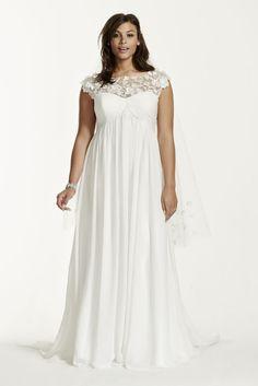 Cap Sleeve Chiffon A-Line Plus Size Wedding Dress - Soft White, 16W