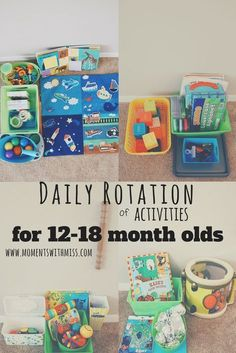 Daily Rotation of Activities for 12-18 Month Olds - Are you looking for ways to switch up your child's playtime? As the weather turns, and being outside isn't always an option, we've got some simple suggestions to help you keep your sanity. Your little one will enjoy these activities, too! | #ToddlerActivities #PlaytimeActivities
