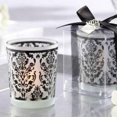 Damask Tea Light Holder | Damask Frosted Glass Tea Light Holder (with blue candles! love the design)