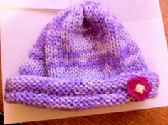 Newborn Girl 0-3 Mos. Crochet hat Purple with Pink Flower