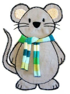 ★ Mouse with scarf ★ Doodle embroidery file Pinner ★Maus mit Schal★ Doodle-Stickdatei Image Size 373 Freehand Machine Embroidery, Free Motion Embroidery, Embroidery Files, Embroidery Applique, Machine Embroidery Designs, Applique Templates, Applique Patterns, Applique Designs, Sewing Patterns
