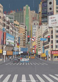 豆瓣 #art #illustration Anime Scenery Wallpaper, Pop Art Wallpaper, Cute Anime Wallpaper, Cute Pastel Wallpaper, Cartoon Wallpaper, Japan Illustration, Graphic Design Illustration, Building Illustration, Digital Illustration