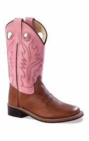 sponsor...Old West Children's Broad Square Toe Leather Western Boots - Pink/ Brown
