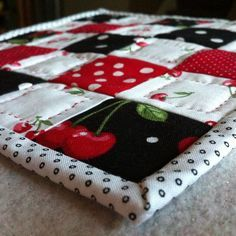 Cherries Quilted Mug Rug...cute...                                                                                                                                                                                 More
