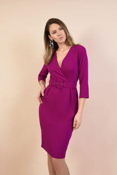 Spring emotions #spring #poema #poemaro #fashion #womenfashion #dress #purple #chic #elegant #lovelyspring #emotions Wrap Dress, Shoulder Dress, Dresses For Work, Elegant, Purple, Spring, Casual, Fashion, Vestidos