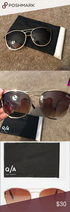 Quay Cherry Bomb Gold & Brown Sunglasses Barely Used Quay Australia Cherry Bomb Gold and Brown Mirrored Sunglasses. Comes with soft case. Great for the summer! ☀️🕶 Quay Australia Accessories Sunglasses