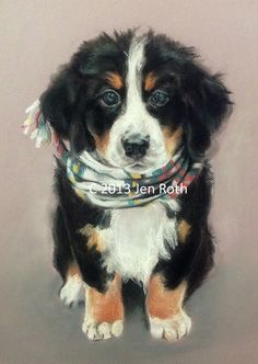 "Dog Print Pastel 8 x 10 ""COMFY BERNESE PUPPY"" of original pastel art home decor animal"