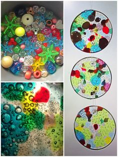 Melted plastic bead suncatchers 1 layer of plastic beads in cake pan. A glass bead leaves a hole for hanging. 450◦F for 20 minutes (the bigger, more opaque beads can take longer). Open the windows to ventilate or bake in a closed gas grill outside. They'll just slip out when cool. Poke a paper clip through the bead before fully cooled to make sure the hole is open...made and photographed by Autumn Sproles