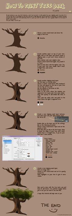 Tutorial #1 : Tree Bark by Mowito.deviantart.com on @deviantART