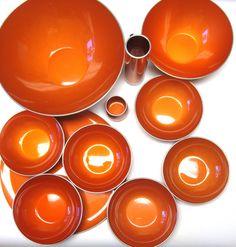 Enameled Orange Aluminum 11 Piece Serving Set Salad Set Norway Dish Bowl Platter on Etsy, $174.99