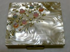 Vtg Mother of Pearl ? Abalone ? Deco Powder Compact mirror with rhinestone & art