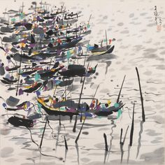 Wu Guanzhong (1919-2010) Boats Ink and colour on paper, framed and glazed Inscribed and signed Wu Guanzhong, with two seals of the artist Dated 1991 68cm x 68cm (26¾in x 26¾in).  吳冠中 船 設色紙本 鏡框 一九九一年作  款識:吳冠中,一九九一。 鈐印:荼、九十年代