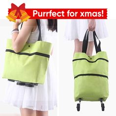 """This amazing """"shopping bag folding"""" on two wheels so that you can switch between shopping cart and shopping bag freely just as you need. Reusable Shopping Bags, Reusable Bags, Festival Gear, Diy Bags Purses, Diy Crafts To Do, Amazing Shopping, Cool Items, Travel Essentials, Mother Gifts"""