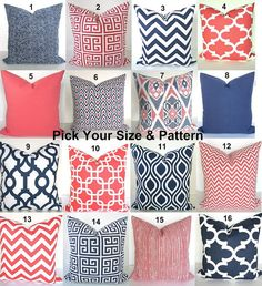 GET A WHOLE NEW LOOK JUST BY USING PILLOWS! WITH DESIGNER FABRICS, THESE PILLOW COVERS CAN GO RIGHT ONTO A PILLOW FORM OR OVER YOUR EXISTING PILLOWS! Add a FRESH NEW DESIGNER LOOK to any room with these pillow covers made for any size pillow. They feature a gorgeous a Chevrons, Greek Keys, Solids and many Geometric patterns all in Navy Blue and Coral on a white background. Theyre made up of 100% decorator weight cotton fabric. * * * MIX AND MATCH ANY COMBINATION OF THESE SIZES & PATTERNS…