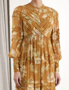 The Sabotage Folded Tuck Dress in Golden Poppies from our Fall 2019 Ready To Wear Collection. A lightweight silk midi dress featuring tucks throughout with a soft flared skirt and blouson sleeves. Dressy Dresses, Modest Dresses, Stylish Dresses, Smocked Dresses, Modern Filipiniana Gown, Couture Dresses, Fashion Dresses, Tuck Dress, Polished Casual