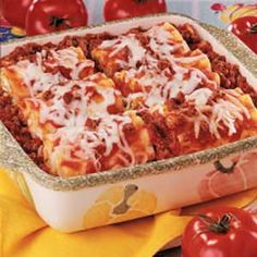 Lasagna Roll Ups  I slightly modified this recipe, using ricotta, and also chopped baby spinach.  I also mixed 1/4 c. of shredded mozzarella into the cheese mixture, as I like mine thicker and drier.