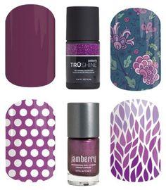 Jamberry Nails - Colors - Purple boysenberry,sweet 16, koi pond, purple & white polka, jammin, ombre lotus  laurenrose.jamberry.com www.facebook.com/groups/LaurenRoseJams/