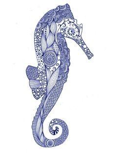 zentangle sea horse - great design