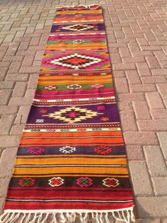 Colorful VINTAGE Turkish hallway Runner Kilim Rug by KilimRugStore