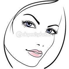 Beauty girl face vector icon — Stock Vector #5385454