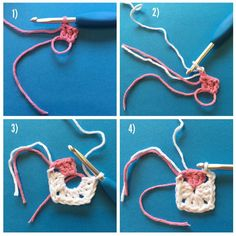 Part 1 - Grannysquare Cat (USA terms)  #grannysquarecat 1) Start with the nose color and make a magic circle; CH3, then 2 DC into the circle. 2) Cut the nose yarn, and fasten on the chin color. Make CH2, for the corner. 3) *DC3, Ch2* three times to complete the first round of the grannysquare. 4) slipstitching into the back loop of the nose corner, and SS across the nose, back loops only, 3 more times until you've gone in every nose-colored loop. don't cut this yarn yet!