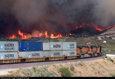 BNSF 5430 had to stop its trek up the pass on track 1 when it came face-to-face with a brush fire. The fire was located north of the tracks and just east of The firefighters seemed to have it under control when I left around pm. Rail Transport, Freight Transport, Old Steam Train, Bnsf Railway, Railroad Pictures, Train Truck, Burlington Northern, Train Times, Railroad Photography