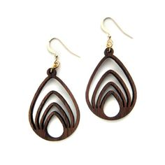 Nested Drop, Laser Cut Wood Earrings, Geometric Jewelry