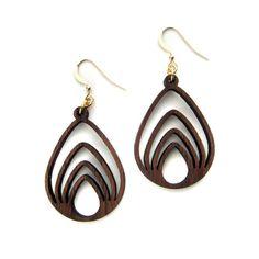 Nested Drop, Laser Cut Wood Earrings, Geometric Jewelry