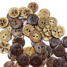 Brown Coconut Shell 2 Holes Buttons 18mm 50pcs