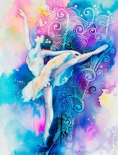 Original Watercolour Painting  Ballerina 2  Fashion by SlaviART, $490.00